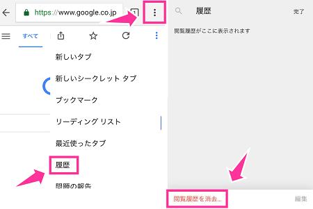 Chromeの履歴削除