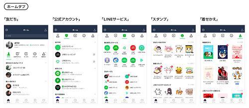 LINEアプリのホームタブ