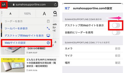 サイトを常にデスクトップ表示