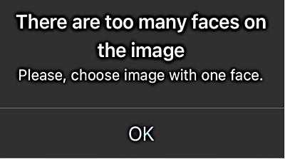 複数の顔を認識した場合のエラー