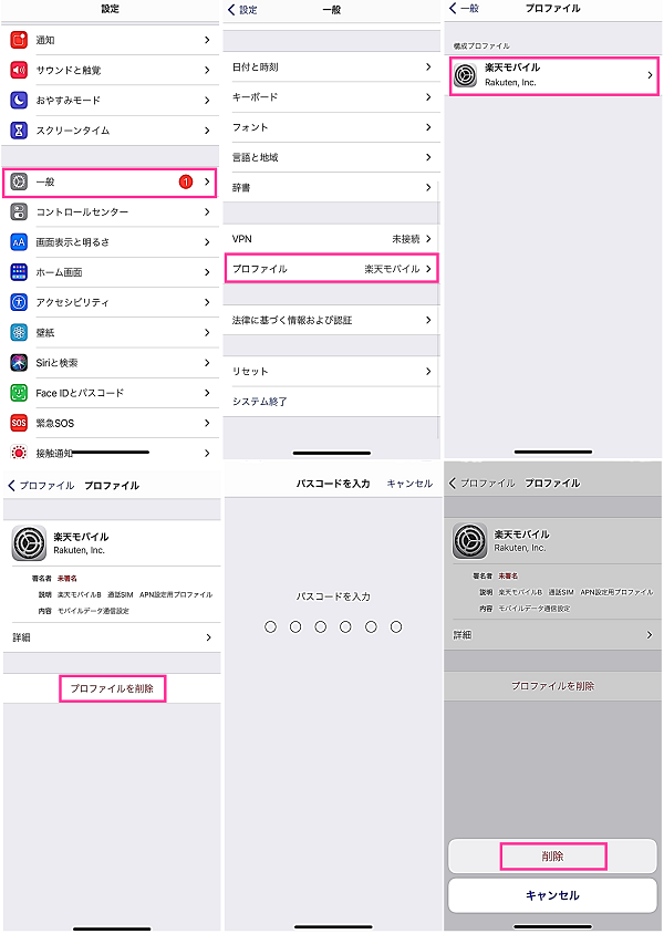 iOS14でプロファイルを削除
